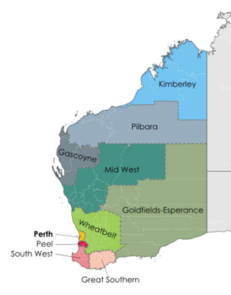 The nine Regional Development Commissions Act regions of WA