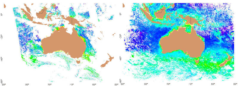 Figure 1 : Daily chlorophyll (OC3) mosaic for Australia (left), and monthly median chlorophyll (right)
