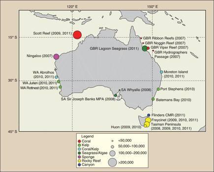 Survey locations around the Australian coast