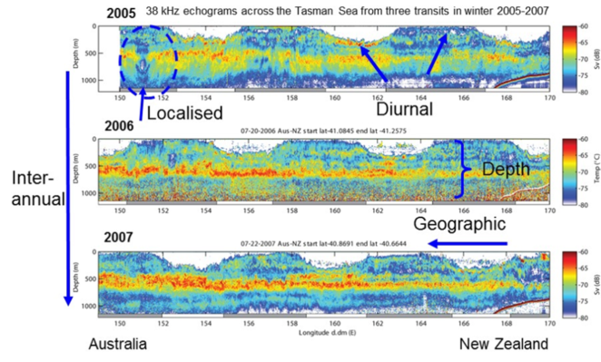 Example of the fishing vessel acoustic data from Australia to New Zealand. Acoustic data at 38 kHz over three years in the austral winter highlighting the localised (10's km) and geographic (100's km) spatial scales and the localised (less than 12 hrs), diel (greater than 24 hrs), and yearly temporal scales recorded in the data (Kloser et al., 2009).