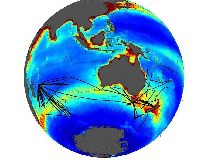 Example of the acoustic data acquired and processed between 2010 and 2014 from 23 vessels for the IMOS bio-acoustic program