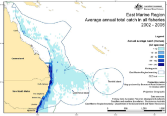 The East Marine Planning region (excluding the GBR but including the Coral Sea and much of the Tasman Sea between the NSW coast to Lord Howe Island)
