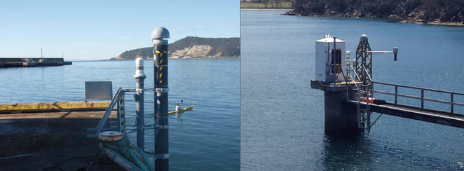 Tide gauge and CGPS at Burnie (left) and Spring Bay (right).