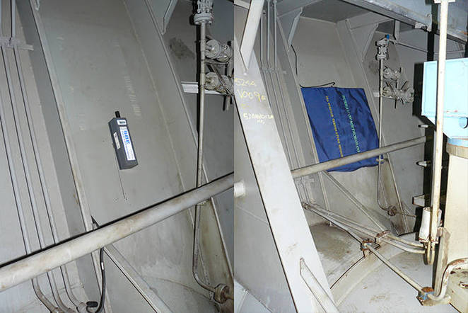 The SeaBird SBE 48 Hull Contact Temperature Sensor (left) installed against the exterior hull of the PV Spirit of Tasmania II in the bow thruster room, and (right) covered with the custom-made insulating pad.