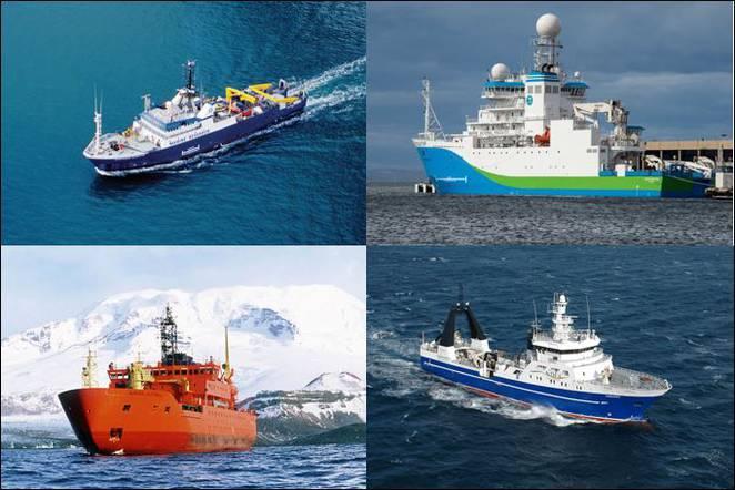 Photos of RV Southern Surveyor (top left), RV Investigator (top right), SRV Aurora Australis (bottom left) and RV Tangaroa (bottom right)