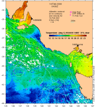 The summer time (February 2008) SST for the SA-IMOS region.