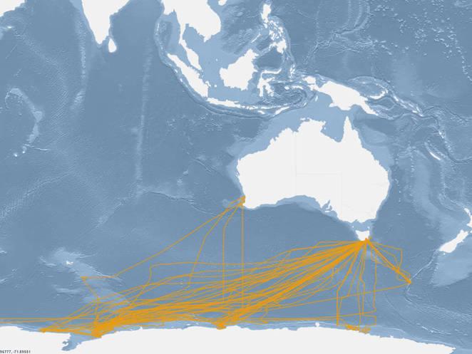Map of SRV Aurora Australis flux routes