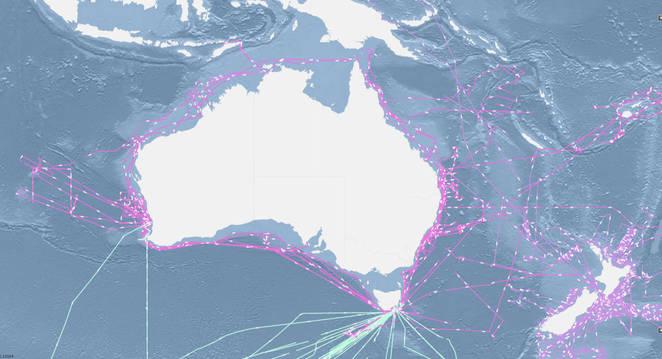 Map showing the flux tracks of the RV Southern Surveyor (pink), SRV Aurora Australis (light blue) and RV Tagaroa (purple)
