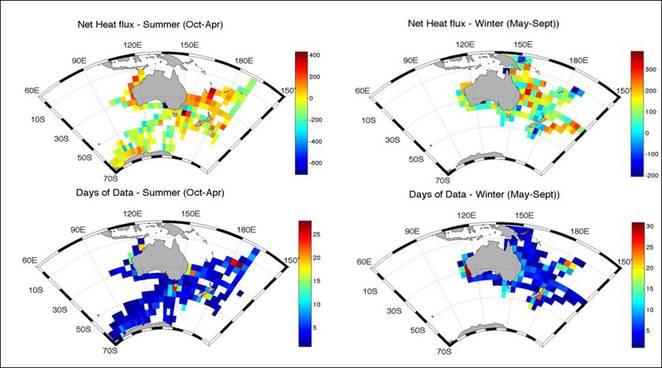 4°x4° Gridded net heat flux 2008-2011 (+ve = flux out of ocean)
