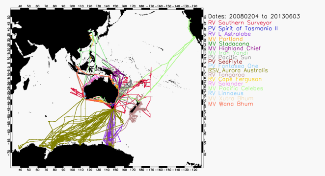 Cruise tracks of 18 vessels providing SST data to IMOS and the GTS between 4 February 2008 and 3 June 2013.