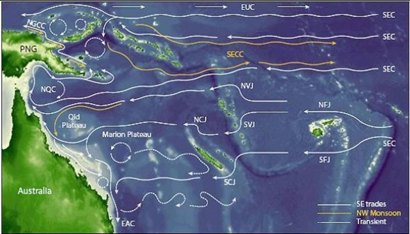 Flow streams in the western Pacific (source Steinberg 2007)