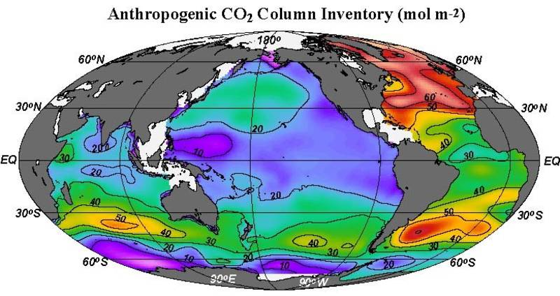 The column inventory of anthropogenic CO2 for the oceans (Sabine et al., 2004)